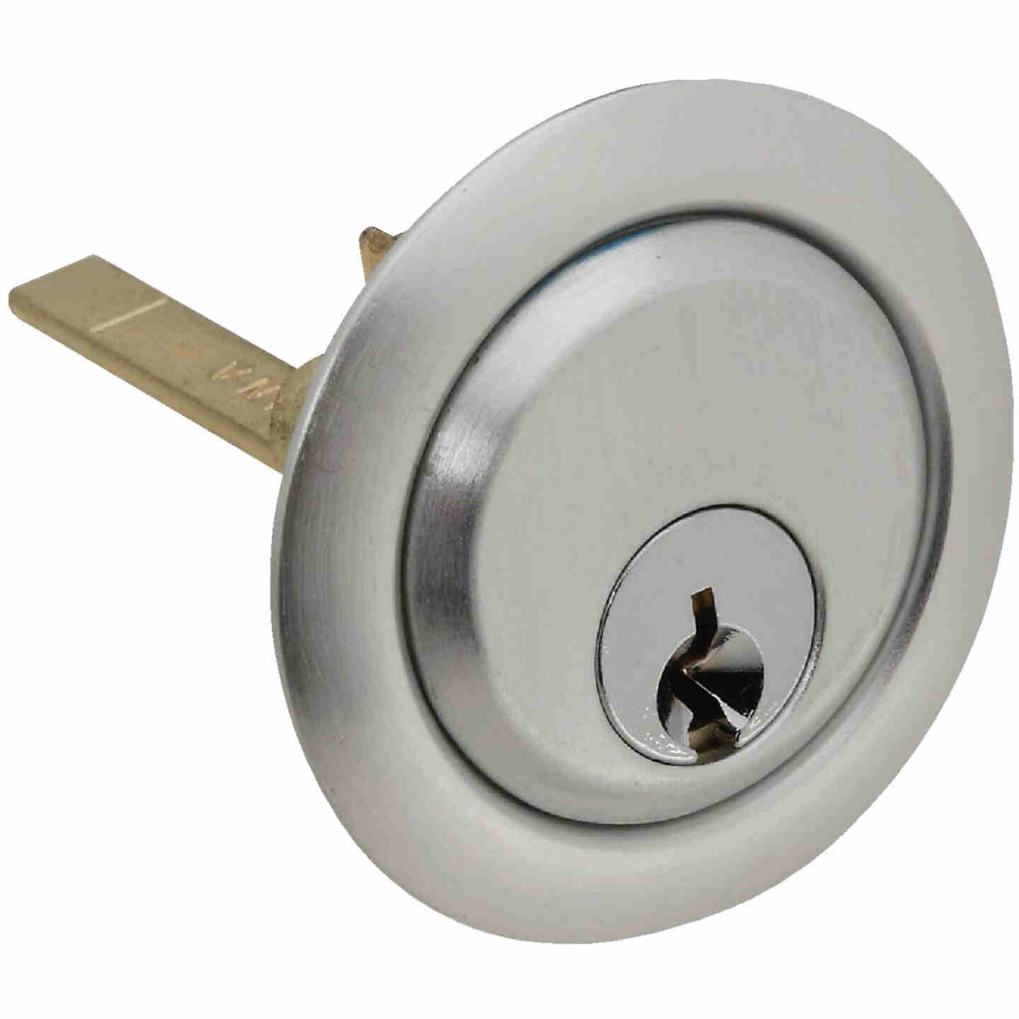 Prime-Line 5-Pin Brass Diecast Rim Cylinder Lock with Trim Ring Image 1