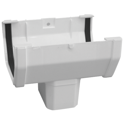 Raingo 5 In. Vinyl White Duraspout Gutter B-Drop Outlet