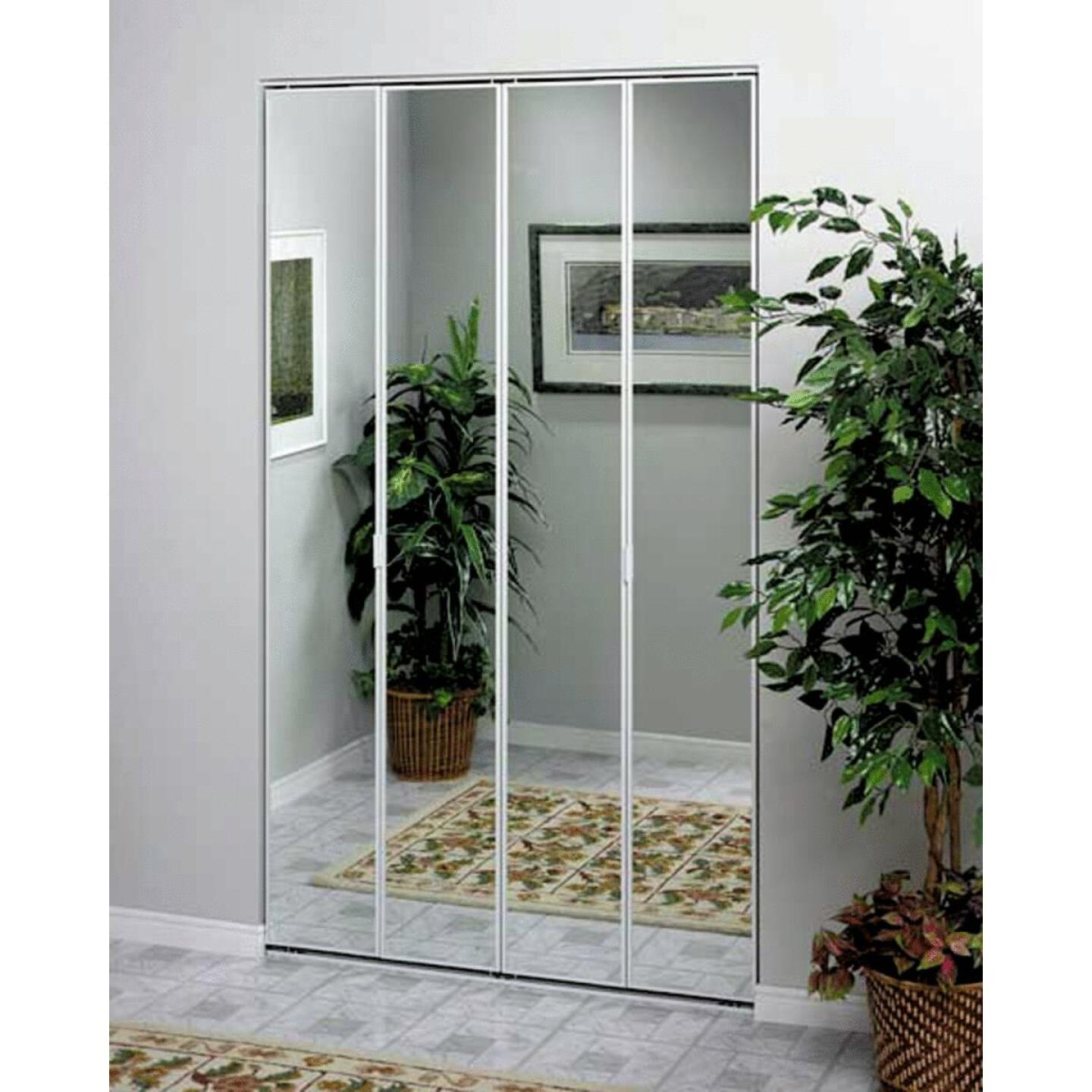 Erias Series 4400 36 In. W. x 80-1/2 In. H. Steel Frame Mirrored White Bifold Door Image 1