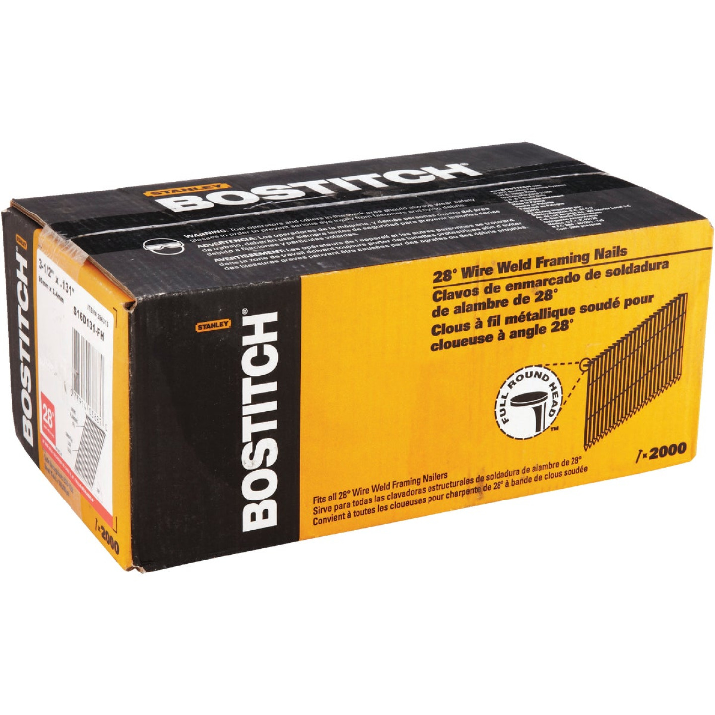 Bostitch 28 Degree Wire Weld Coated Offset Round Head Framing Stick Nail, 3-1/2 In. x .131 In. (2000 Ct.) Image 2