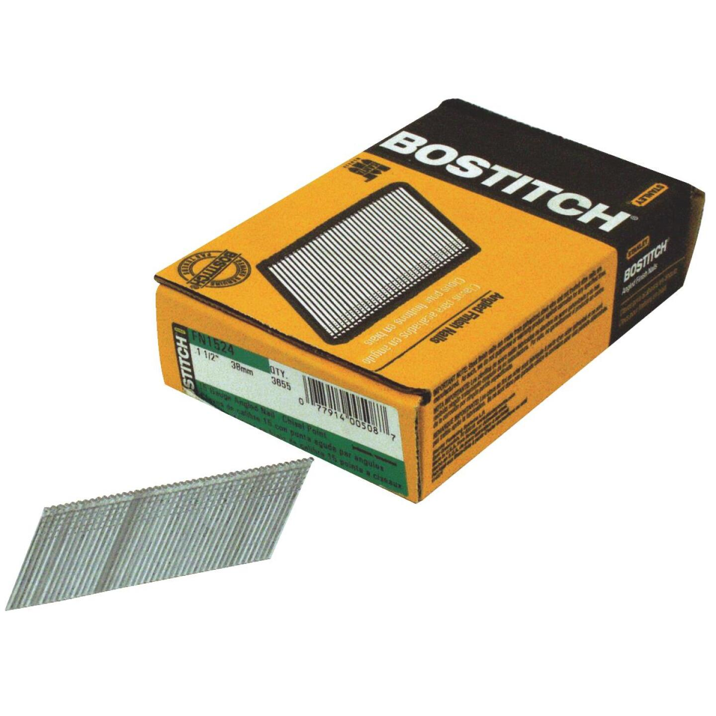 Bostitch 15-Gauge Coated 25 Degree FN-Style Angled Finish Nail, 2-1/4 In. (3655 Ct.) Image 1
