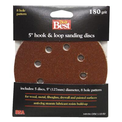 Do it Best 5 In. 320-Grit 8-Hole Pattern Vented Sanding Disc with Hook & Loop Backing (5-Pack)