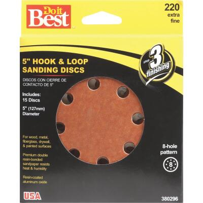 Do it Best 5 In. 220-Grit 8-Hole Pattern Vented Sanding Disc with Hook & Loop Backing (15-Pack)