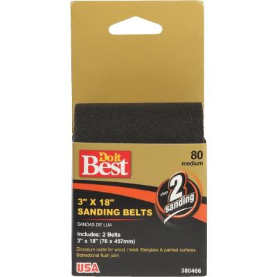 Do it Best 3 In. x 18 In. 80 Grit Heavy-Duty Premium Sanding Belt (2-Pack)