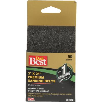 Do it Best 3 In. x 21 In. 50 Grit Heavy-Duty Premium Sanding Belt (2-Pack)