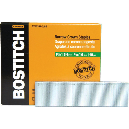 Bostitch 18-Gauge Galvanized Narrow Crown Finish Staple, 7/32 In. x 1-3/8 In. (3000 Ct.)