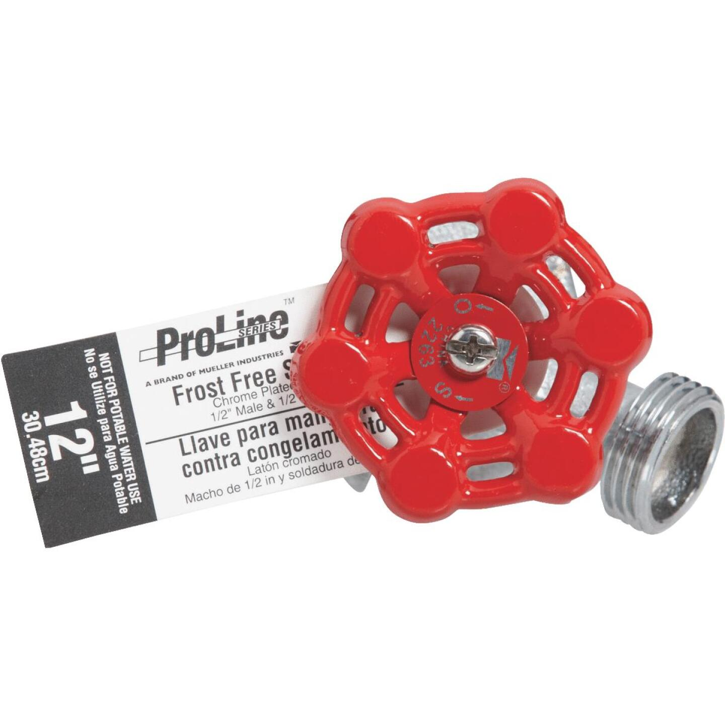 ProLine 1/2 In. SWT X 1/2 In. MIP X 3/4 In. HT X 12 In. Chrome Plated Brass Frost Free Wall Hydrant Image 2