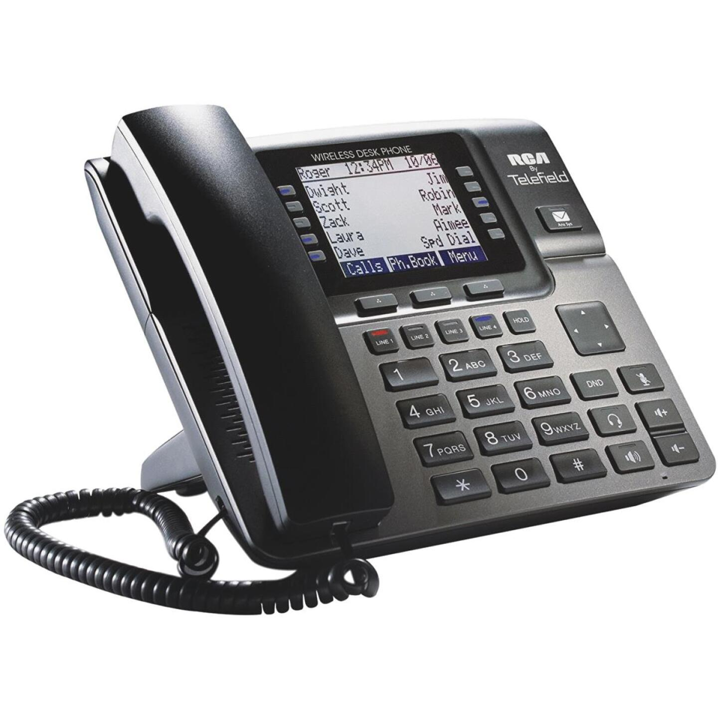 RCA Unison 1-Handset 4-Line Black Wireless Corded Deskset Expansion Telephone Image 1