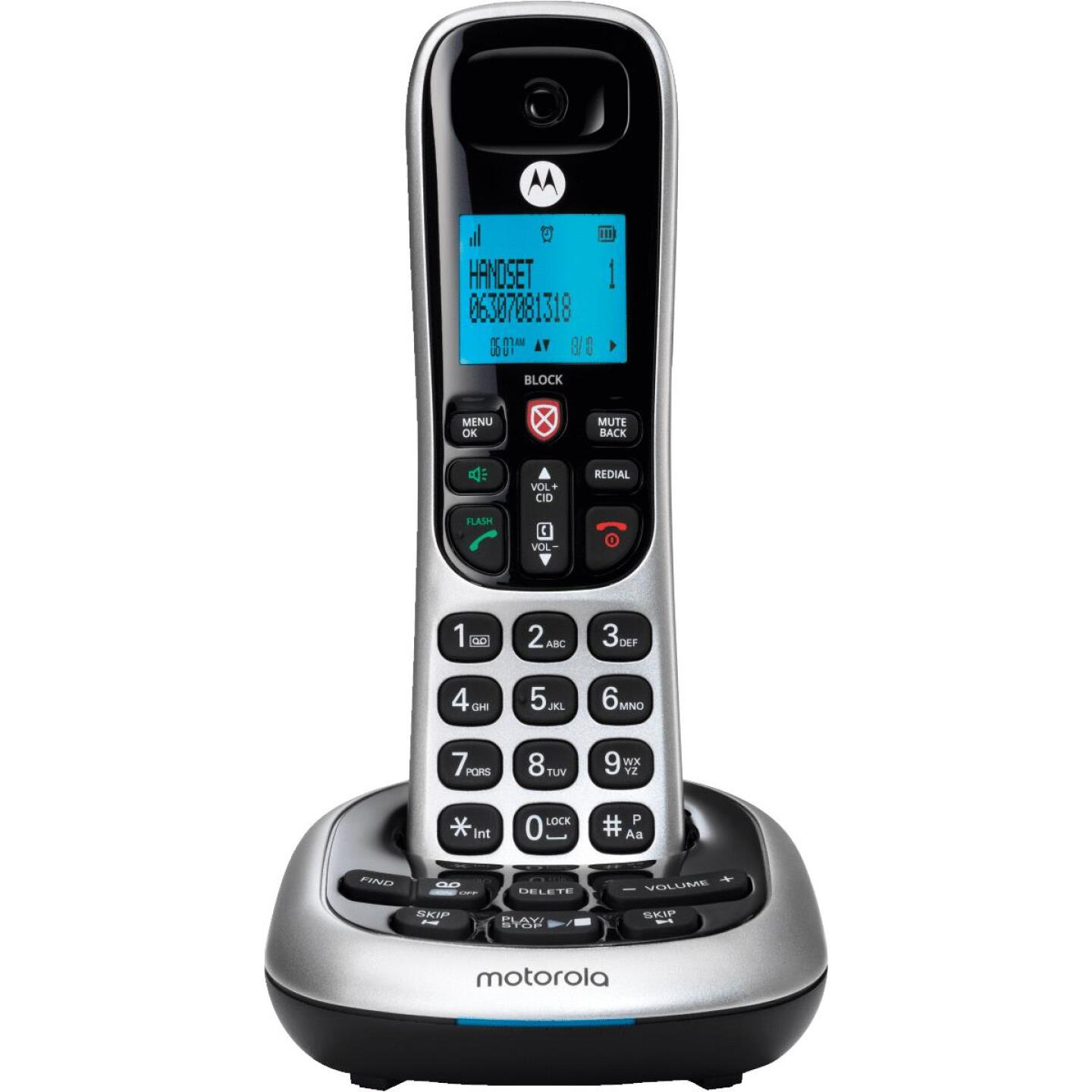 Motorola 1-Line 1-Handset Silver Cordless Phone with Answering System Image 1
