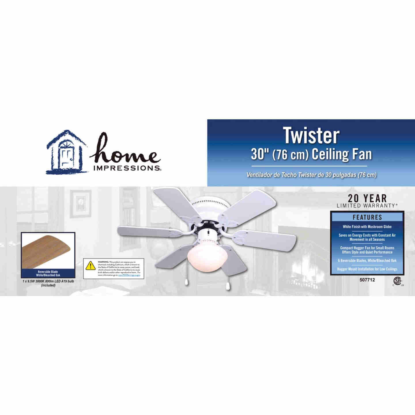 Home Impressions Twister 30 In. White Ceiling Fan with Light Kit Image 2