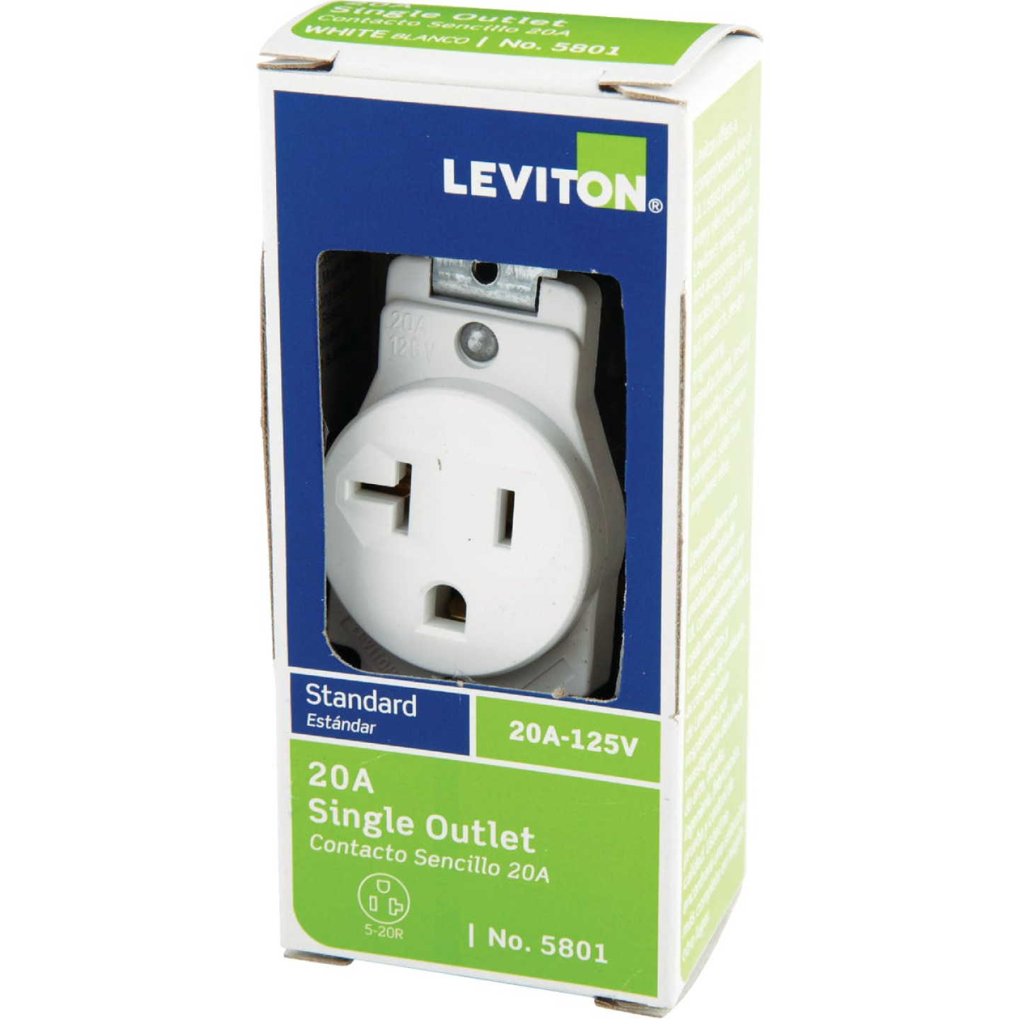 Leviton 20A White Commercial Grade 5-20R Shallow Single Outlet Image 3