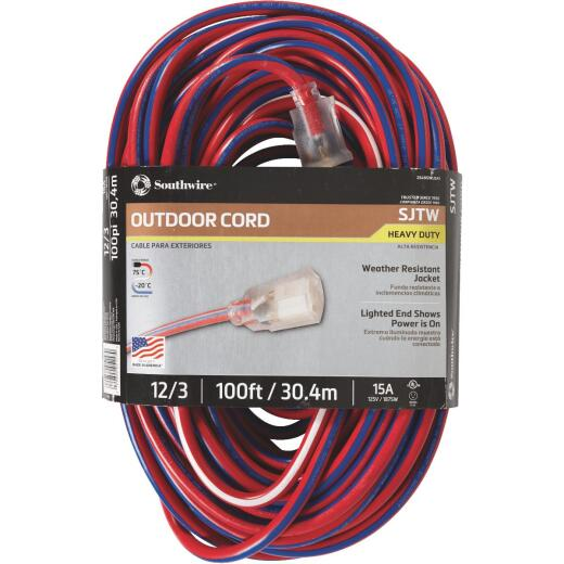 Southwire 100 Ft. 12/3 Indoor/Outdoor Red, White, & Blue Striped Patriotic Extension Cord