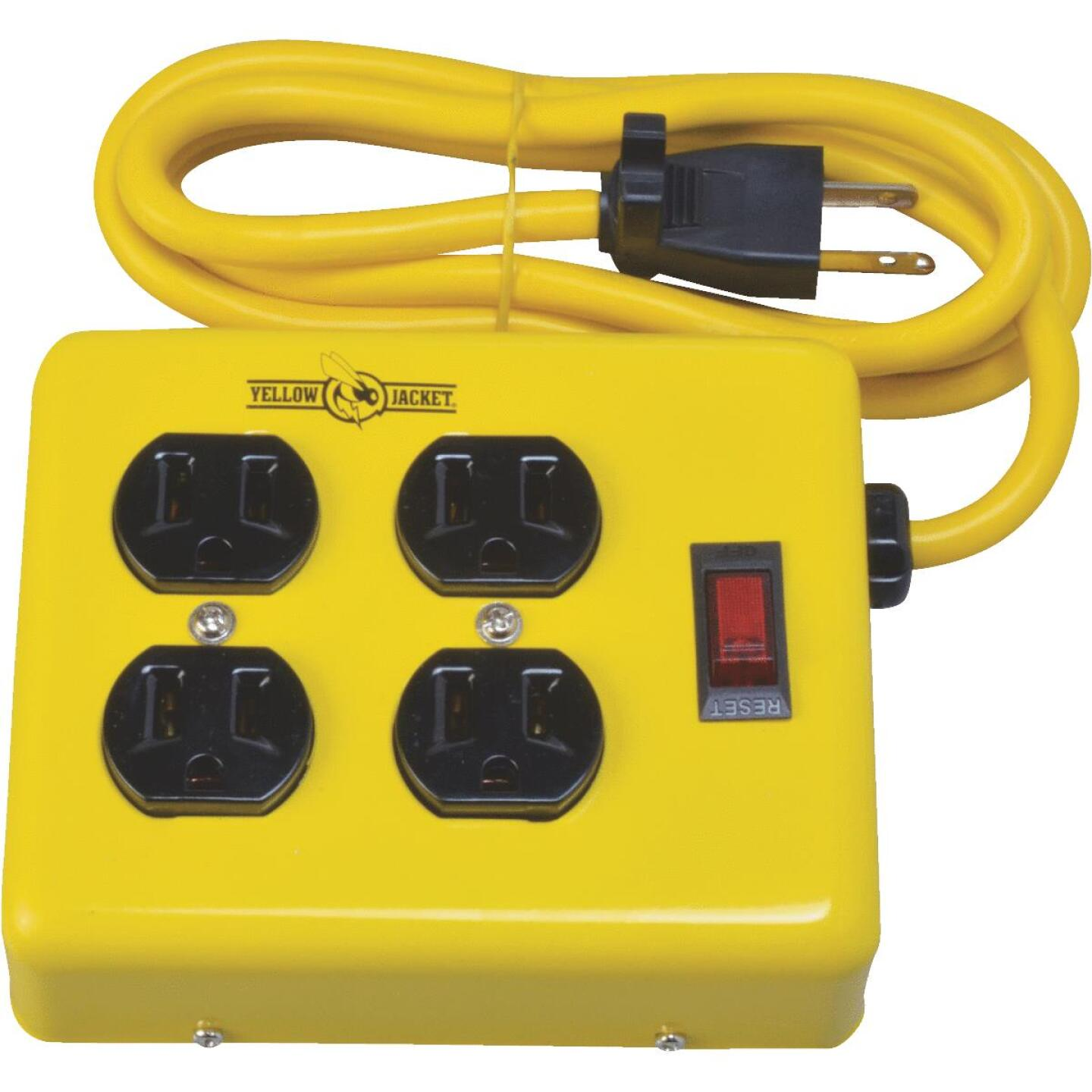 Yellow Jacket 4-Outlet Yellow Metal Power Strip with 4 Ft. Cord Image 1