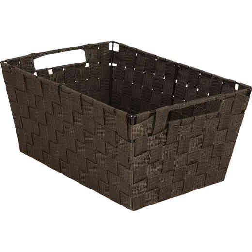 Home Impressions 10 In. W. x 6.75 In. H. x 14 In. L. Woven Storage Basket with Handles, Brown