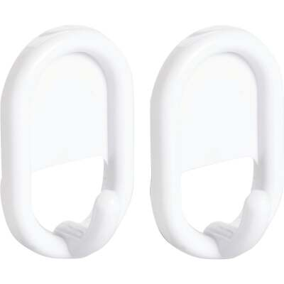 InterDesign Utility White Plastic Adhesive Hook (2-Pack)