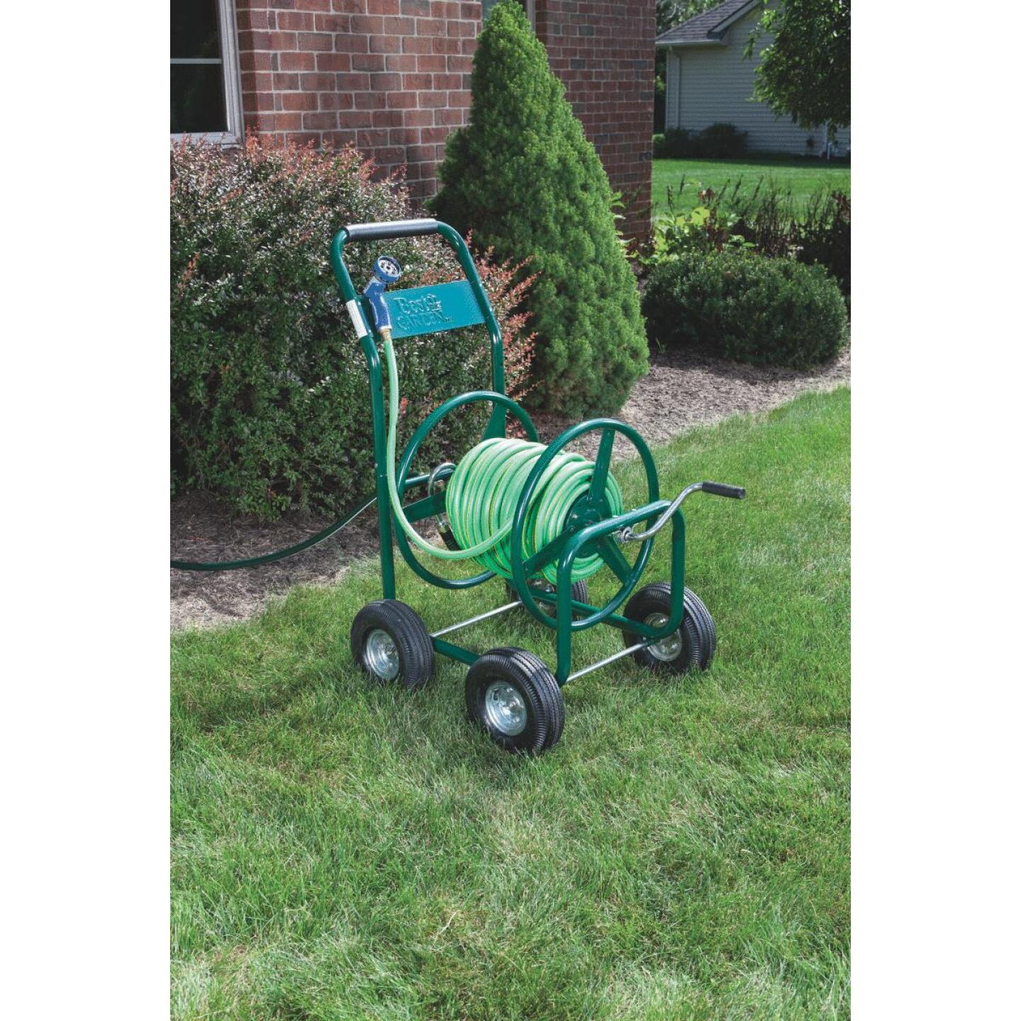 Best Garden 300 Ft. x 5/8 In. Green Metal 4-Wheel Portable Hose Reel Image 1