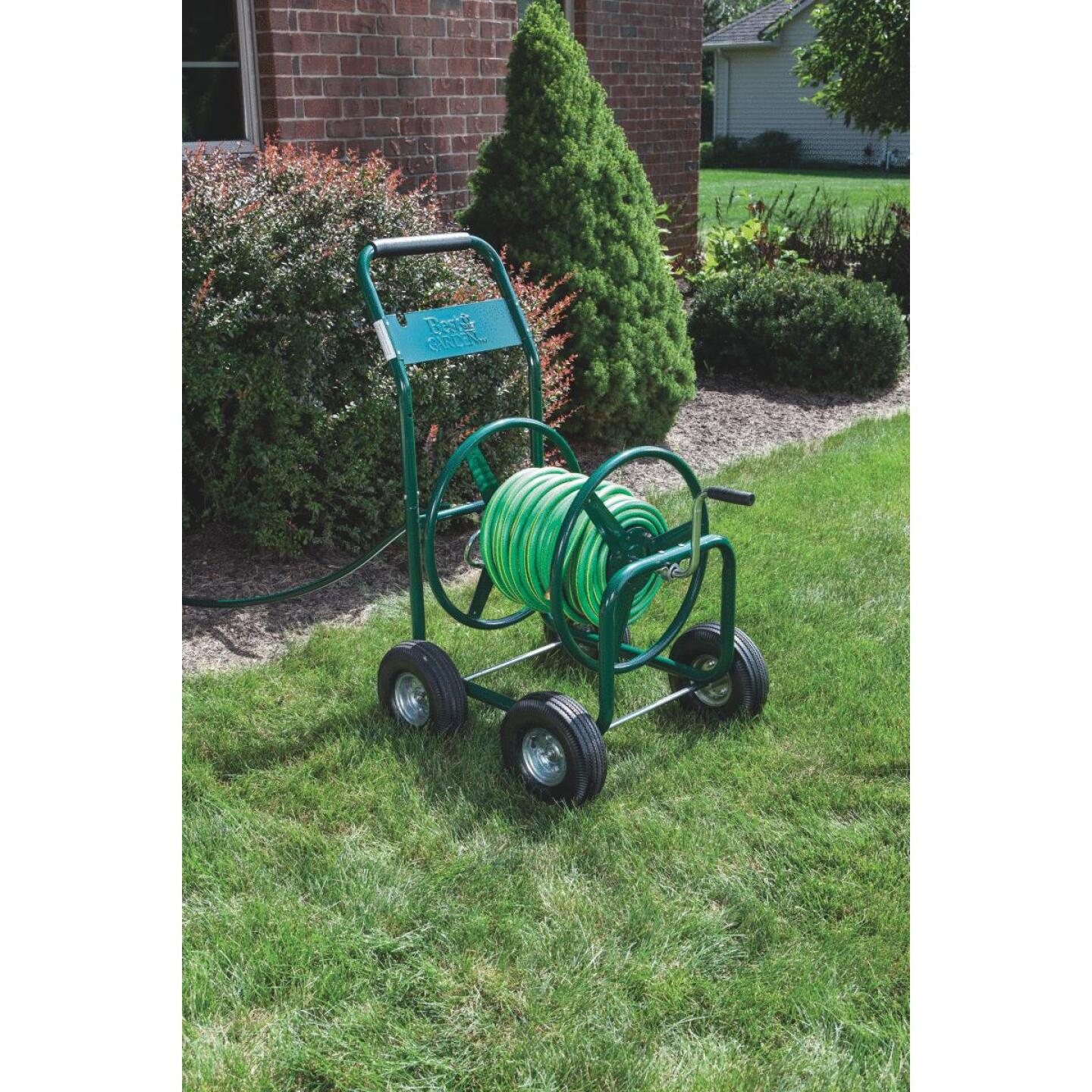 Best Garden 300 Ft. x 5/8 In. Green Metal 4-Wheel Portable Hose Reel Image 3