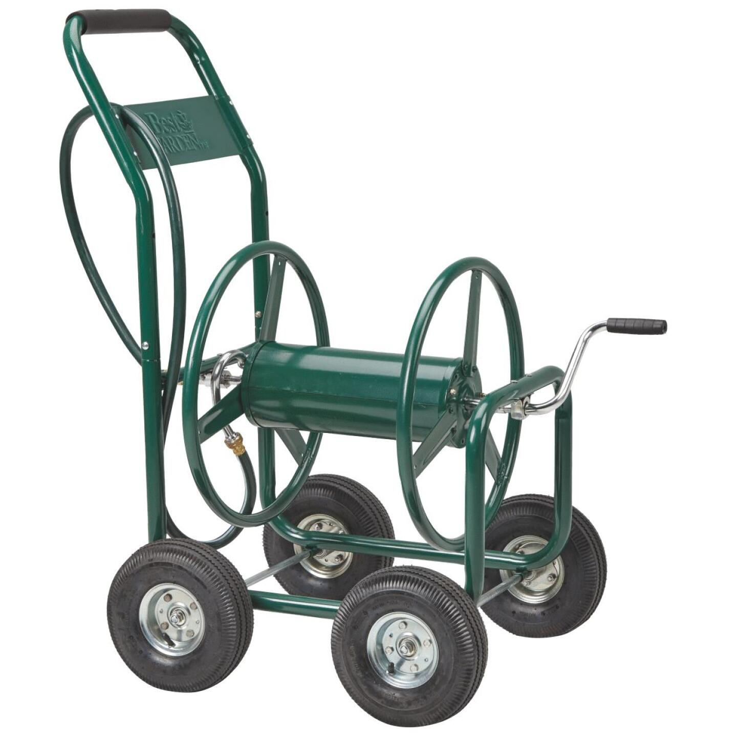 Best Garden 300 Ft. x 5/8 In. Green Metal 4-Wheel Portable Hose Reel Image 4