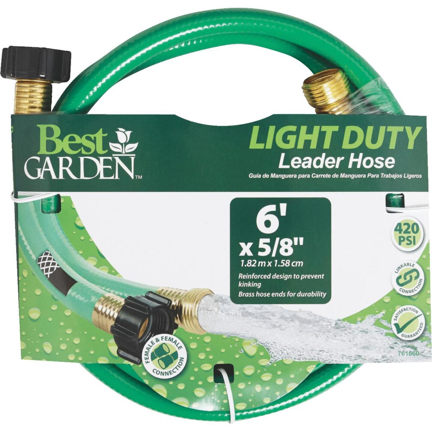 Best Garden 5/8 In. Dia. x 6 Ft. L. Leader Hose with Male & Female Couplings Image 1