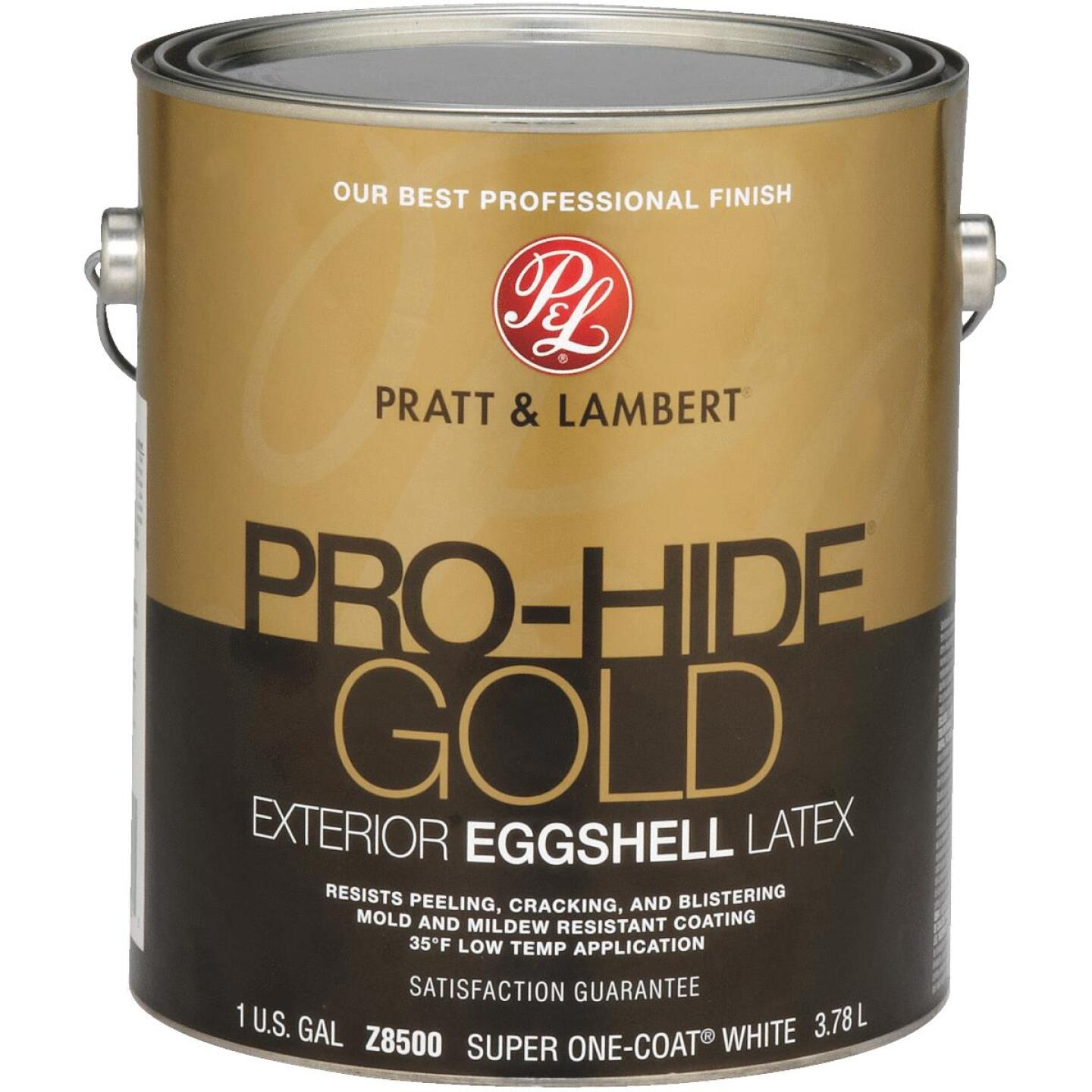 Pratt & Lambert Pro-Hide Gold Latex Eggshell Exterior House Paint, Super One-Coat White, 1 Gal. Image 1