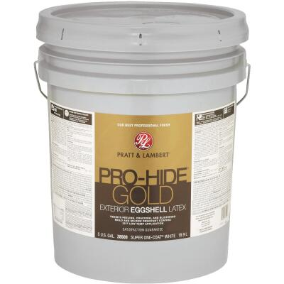 Pratt & Lambert Pro-Hide Gold Latex Eggshell Exterior House Paint, Super One-Coat White, 5 Gal.