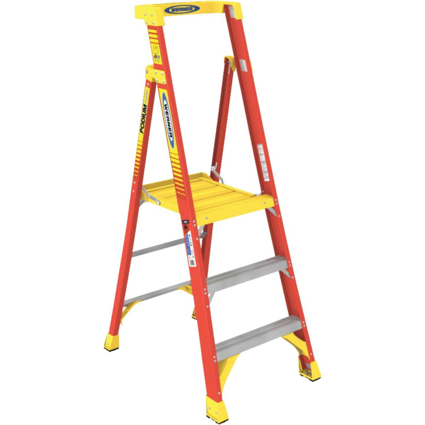 Werner 9 Ft. Reach Fiberglass Podium Ladder with 300 Lb. Load Capacity Type IA Ladder Rating Image 1