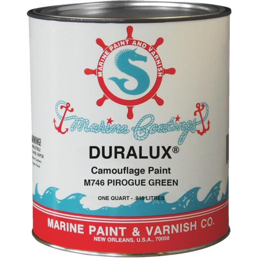 DURALUX Flat Marine Paint, Camouflage Pirogue Green, 1 Qt.