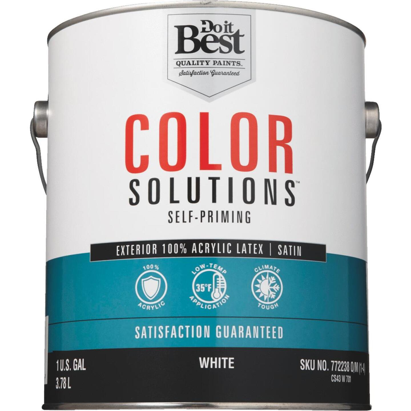 Do it Best Color Solutions 100% Acrylic Latex Self-Priming Satin Exterior House Paint, White, 1 Gal. Image 2