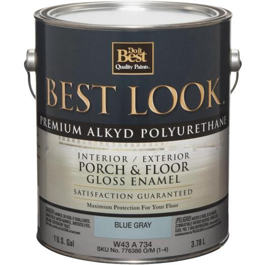 Best Look 1 Gal. Blue Gray Polyurethane Gloss Porch & Floor Enamel