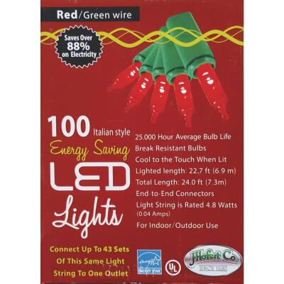 J Hofert Red 100-Bulb Italian Style LED Light Set