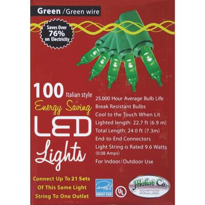 J Hofert Green 100-Bulb Italian Style LED Light Set